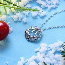 Christmas Zircon Necklace with A Bow